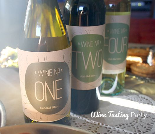 Wine tasting party ideas with free printable labels DIY and fun - free wine bottle label templates