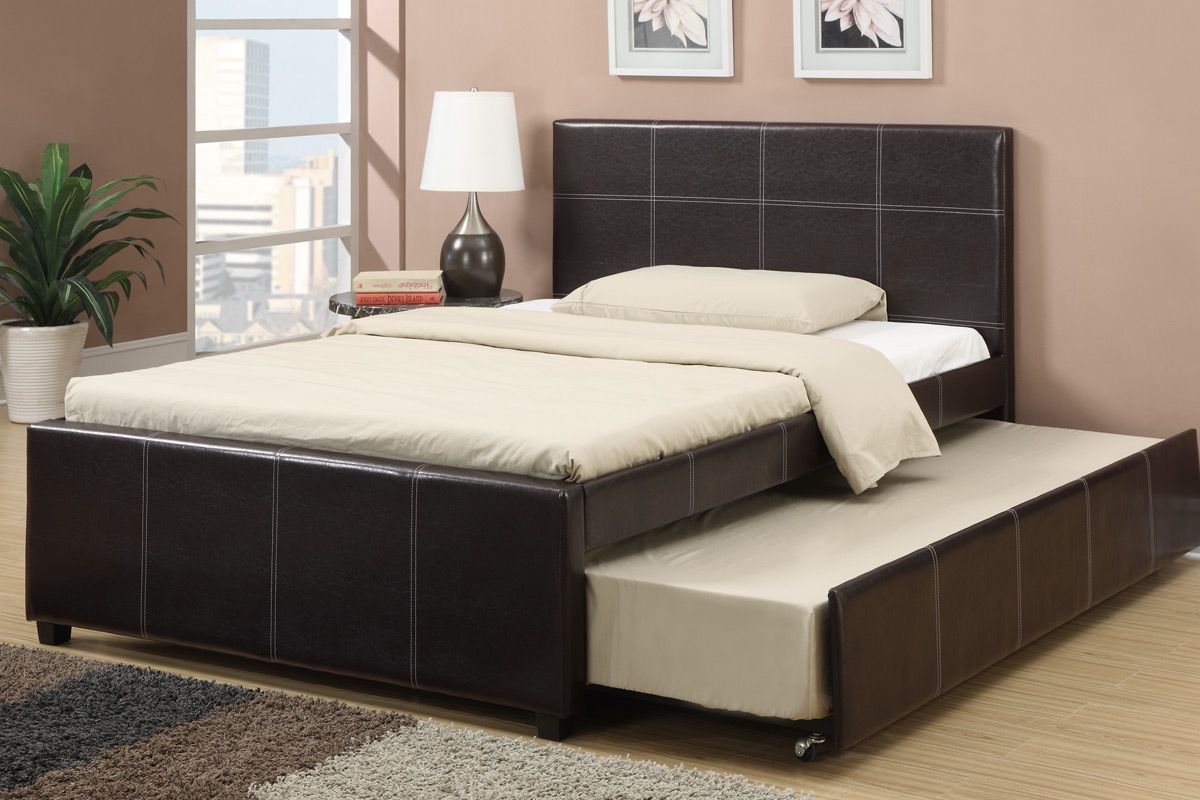 Full Bed In Small Room Espresso Faux Leather Full Size Bed With Twin Size Trundle