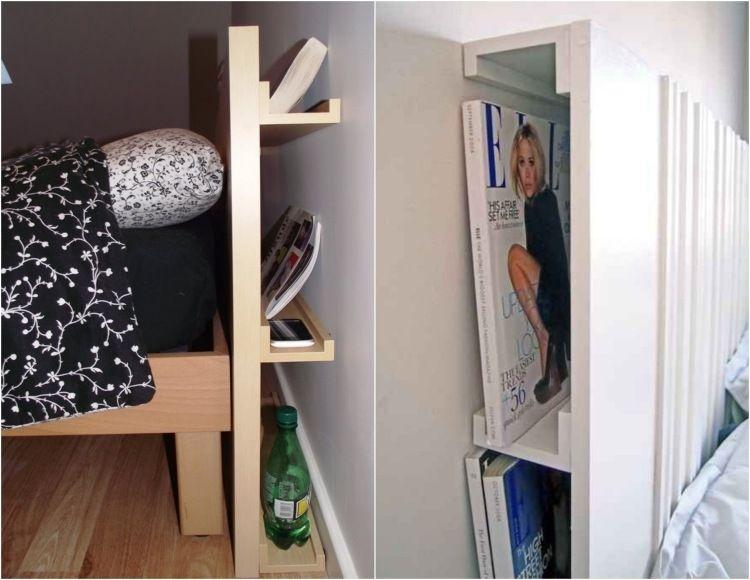 Bilderleisten als versteckter Stauraum hinter Bett Kopfteil Deko - bett regal stauraum ablage