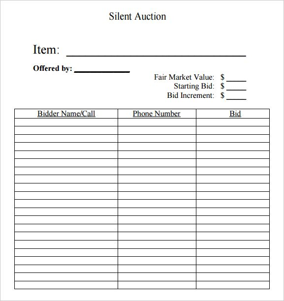 silent auction bid sheet free silent auction bid sheets - sample silent auction bid sheet