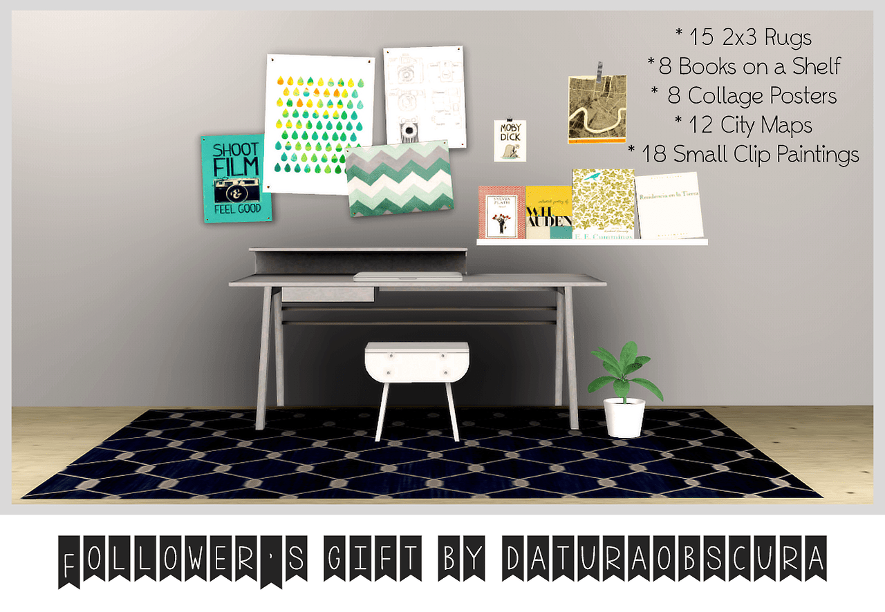 My sims 3 blog rugs 8 books on a shelf posters maps