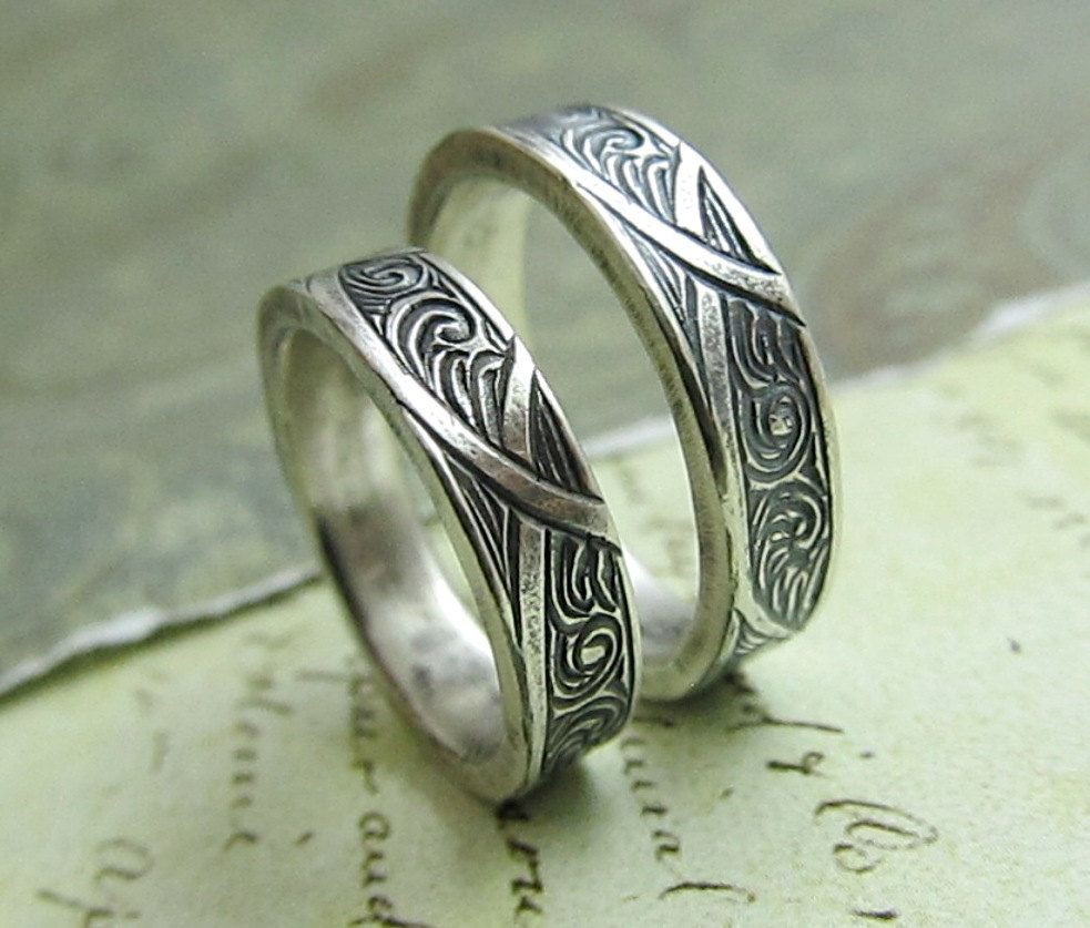 engraved wedding bands Waves and Arches Wedding Band Set Engraved 14k White Gold Rings His and Hers Celtic Scroll Ring by JC Metalsmith