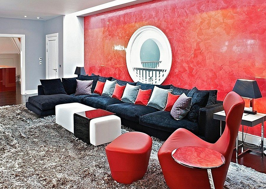 Red Living Rooms Design Ideas, Decorations, Photos Living rooms - grey and red living room
