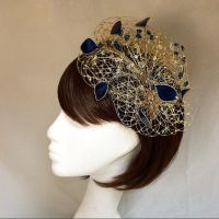 Gold fascinator, wedding headdress, Navy and gold ...
