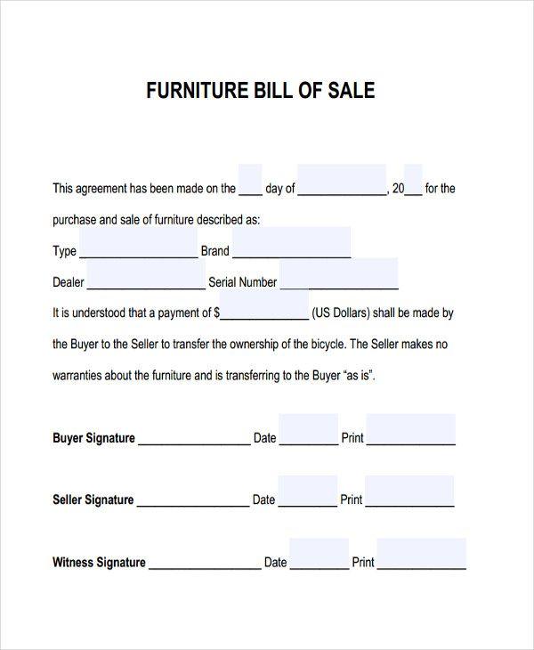 Furniture Bill Of Sale Free \ Premium Templates Bill of Sale - free business bill of sale template