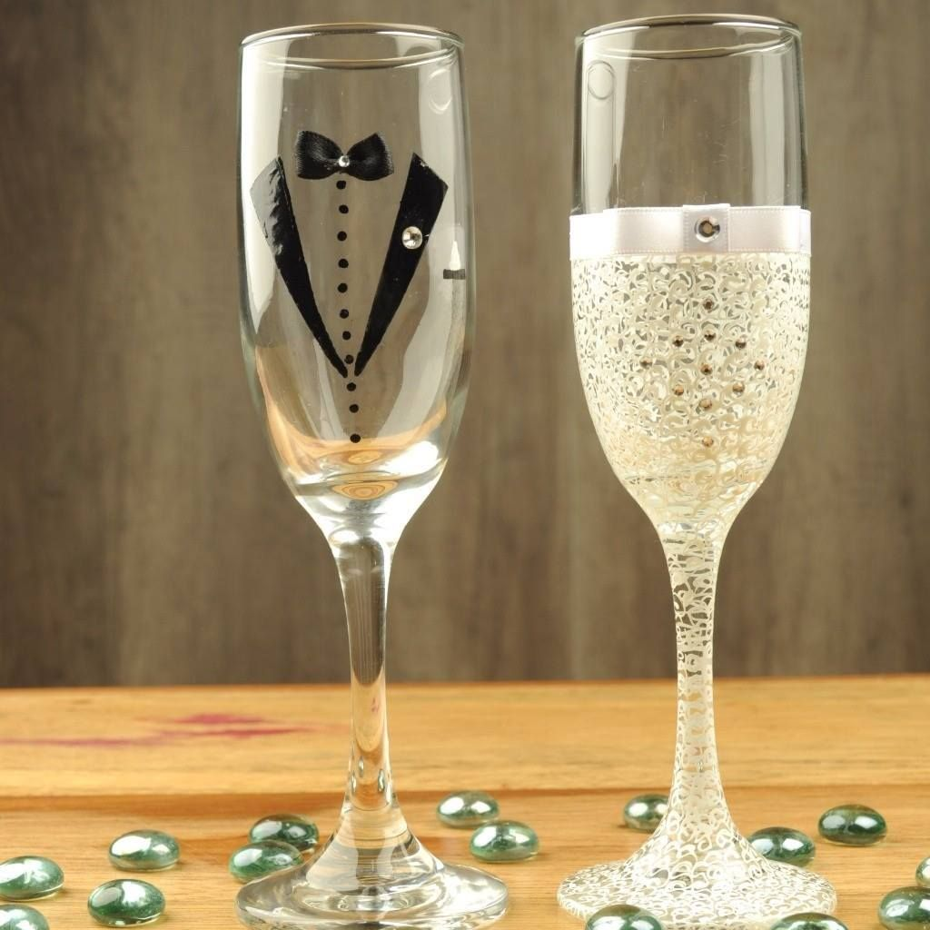 Diy Wedding Champagne Glasses Ideas Pin By Ginger M On Someday Decoration Pinterest Glass
