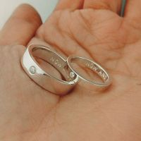 His and Her Promise Rings with free hand stamped on the ...