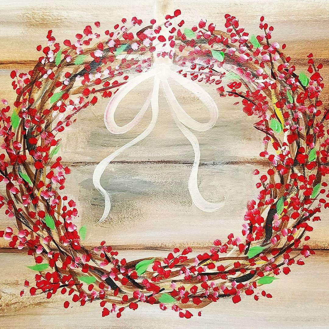 Rustic Canvas Painting Ideas Rustic Wreath With Any Color Berries Acrylic Painting