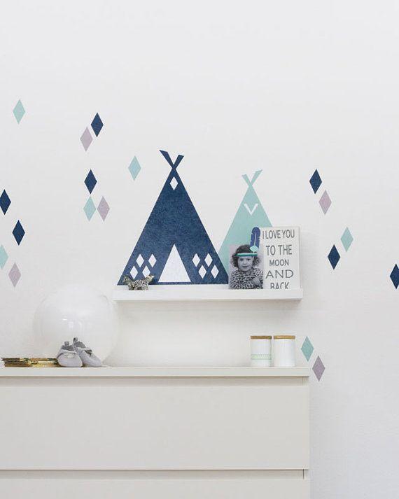 Tipi-Wandtattoo \ Rauten passend für IKEA RIBBA \/ MOSSLANDA - wandsticker babyzimmer nice ideas