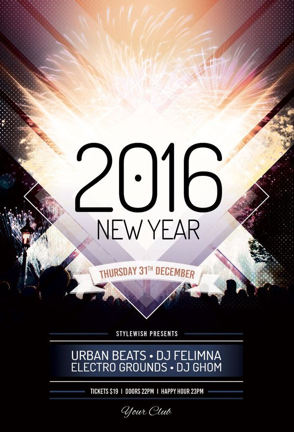 New Year Flyer Template by styleWish (Buy PSD file $9) Flyer - new year poster template