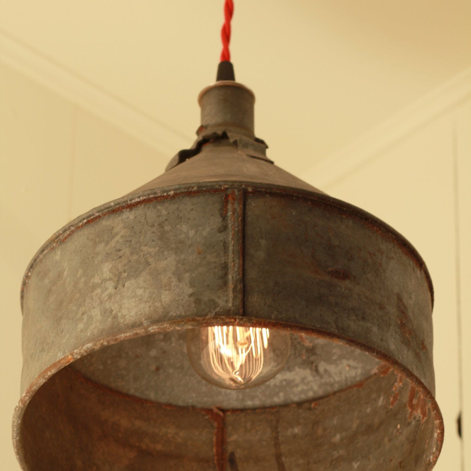 vintage kitchen lighting RESERVED for Jacquidowd Rustic Lighting with Vintage Rustic Funnel Shade Pendant