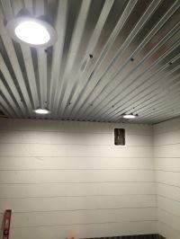 Diy shiplap, corrugated sheet metal ceiling | Camping ...