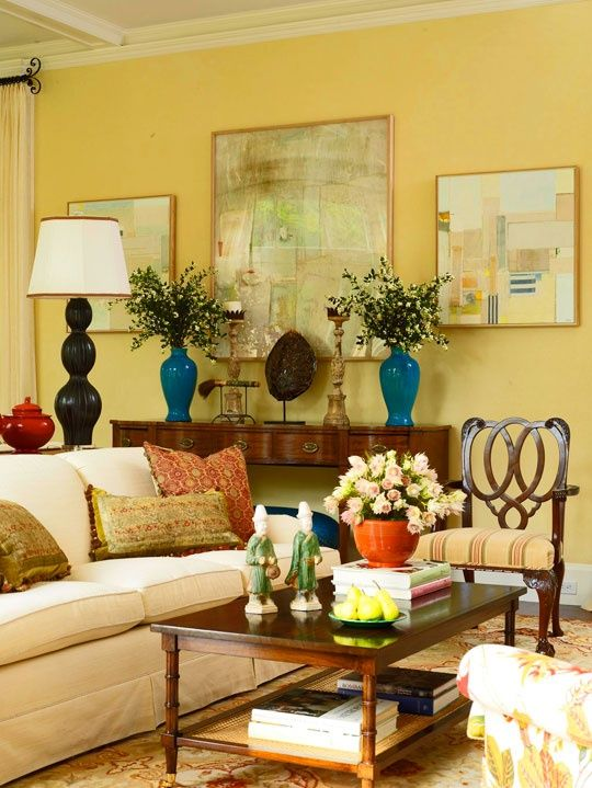 beautiful yellow living room Home Decor that I love Pinterest - yellow living room walls