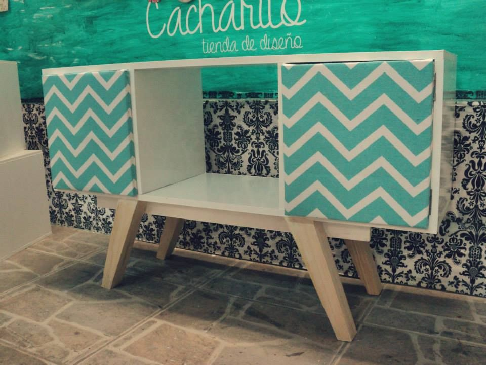 Mueble Tv Retro Mueble Retro Vintage Para Tv. Blanco + Chevron Aqua