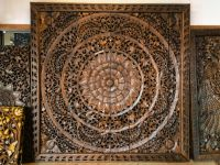 Large Carved Wood Panel. Teak Wood Wall Hanging Decorative ...