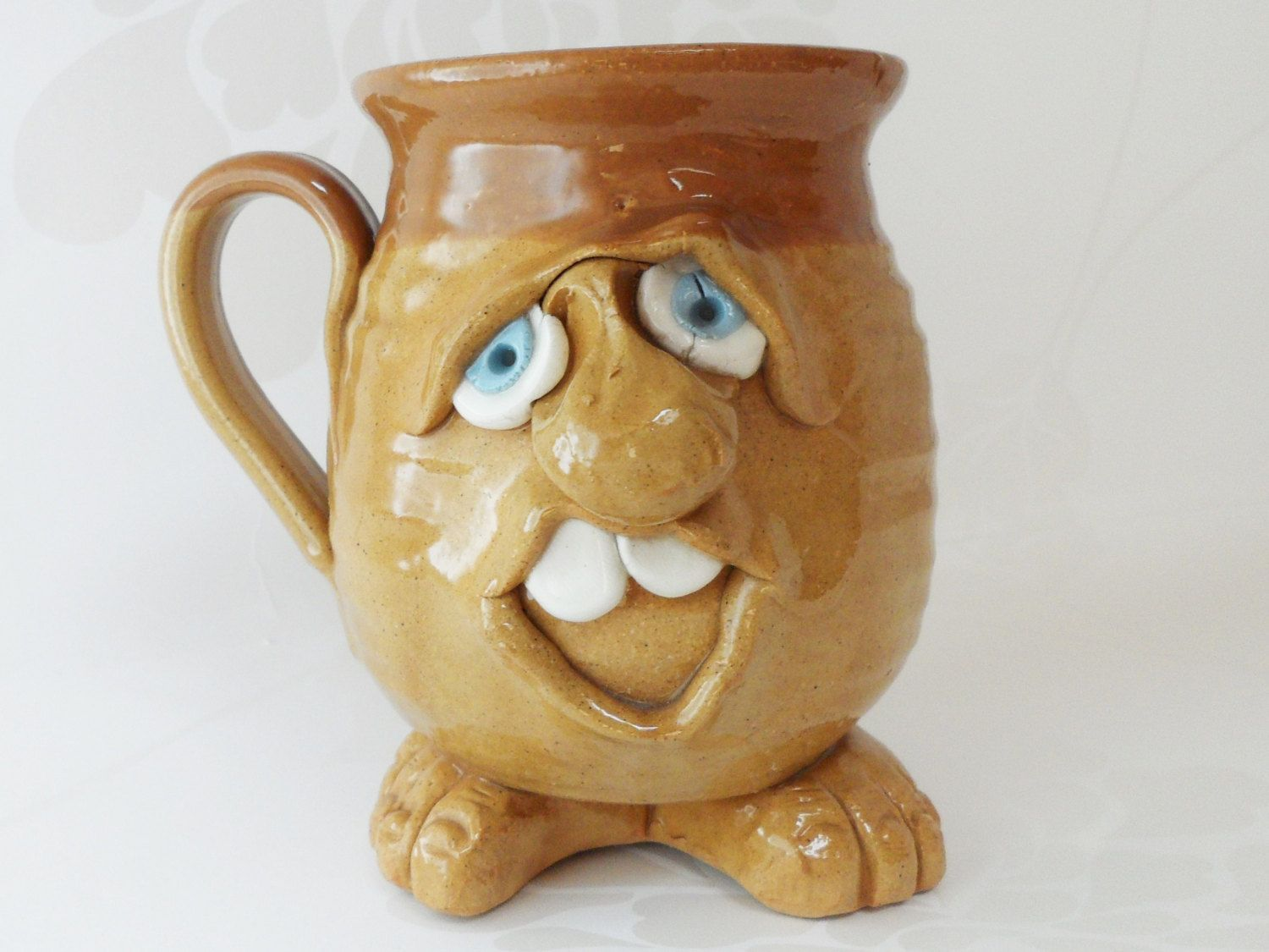 Weird Mugs Coffee Mug Ugly Pottery Style Unusual Blue Eyed Footed