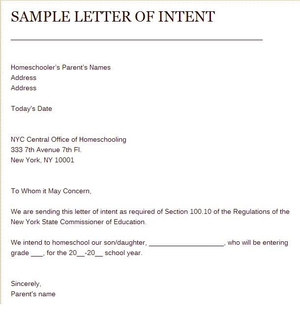Sample of Letter of Intent to Homeschool Home Schooling - sample letters of intent