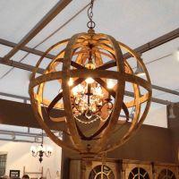 Wooden Orb Chandelier Metal Orb Detail And Crystal | Orb ...