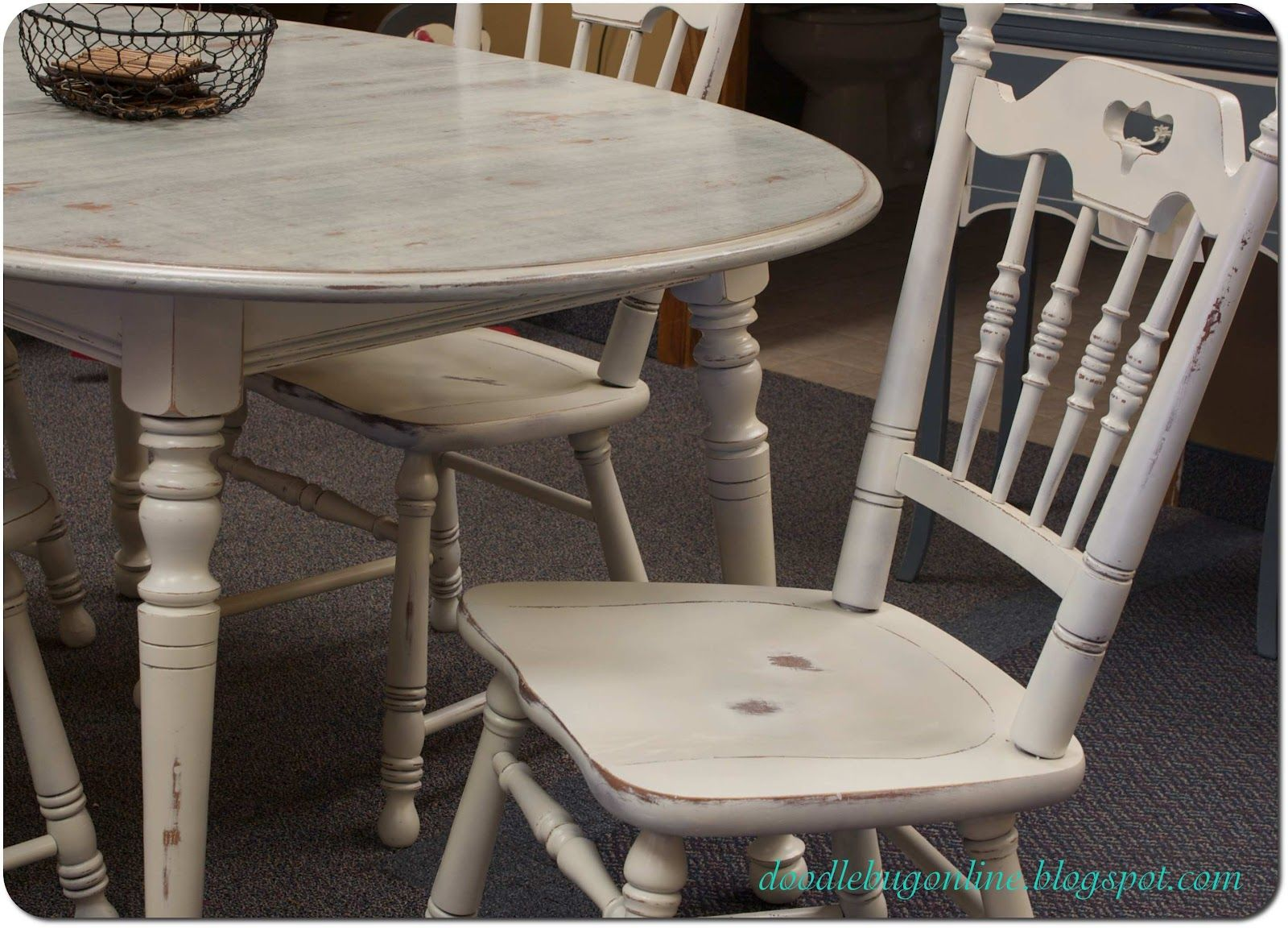 white distressed kitchen table Doodle Bug White Grey Distressed Table Chairs Perfect for a dining set