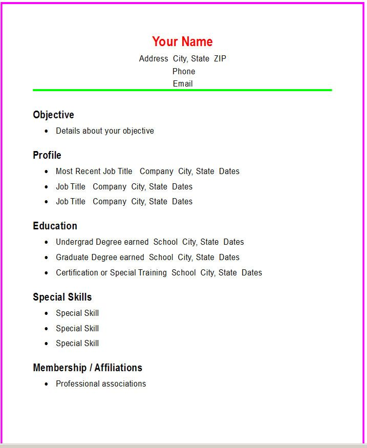 Basic Resume Templates Basic Chronological Resume Template - example of a simple resume