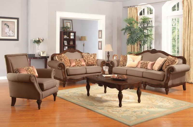 Traditional Living Room Furniture with Wooden Table Home decor - wood living room furniture