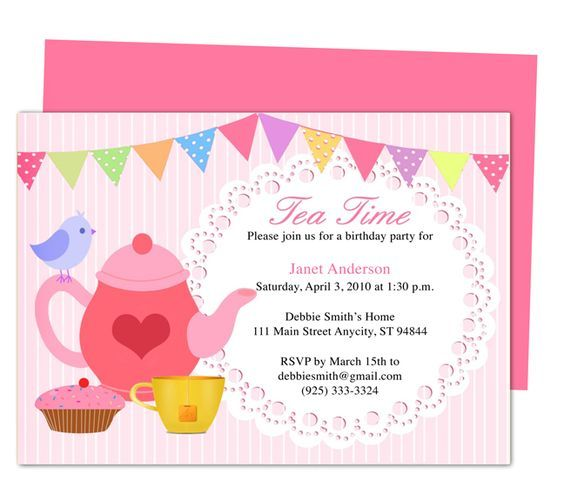 Afternoon Tea Party Invitation Party Templates Printable DIY edit - tea party invitation template