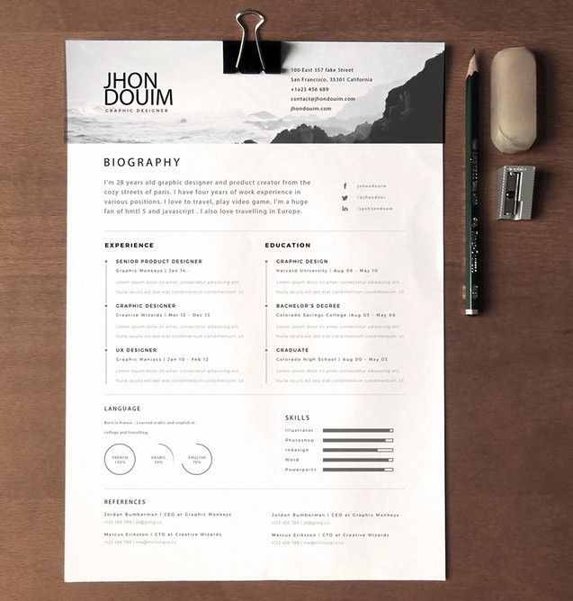 Free Clean Realistic Resume \/ CV Template PSD - TitanUI brand - clean resume templates