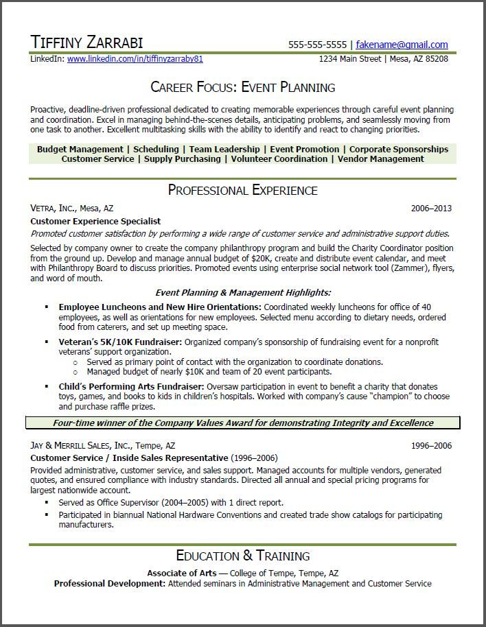 event planner resume Event Planner Resume Career transition - event planner resume