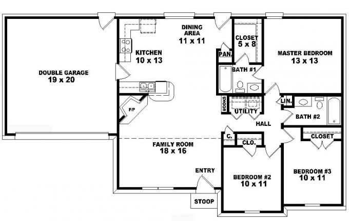 one story ranch style house plans One-story 3 bedroom, 2 bath - 3 bedroom house plans