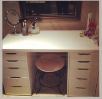 Ikea vanity: 2 ALEX drawer units ($80 each) and a LINNMON ...