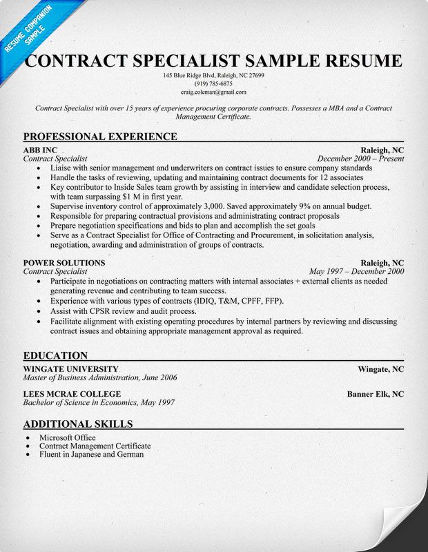 Contract Specialist Resume Sample Contract Specialist Job - contract specialist resume