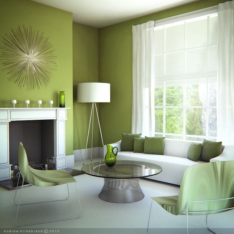 Simple green living room with white carpet flooring - living room - green living rooms