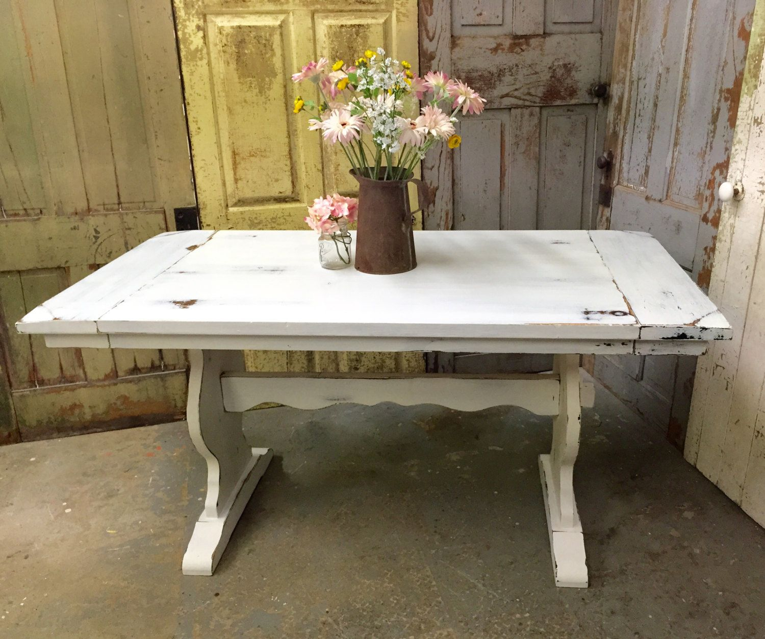 rustic kitchen table White Kitchen Table Rustic Dining Room Table Painted Furniture Beach Cottage Furniture