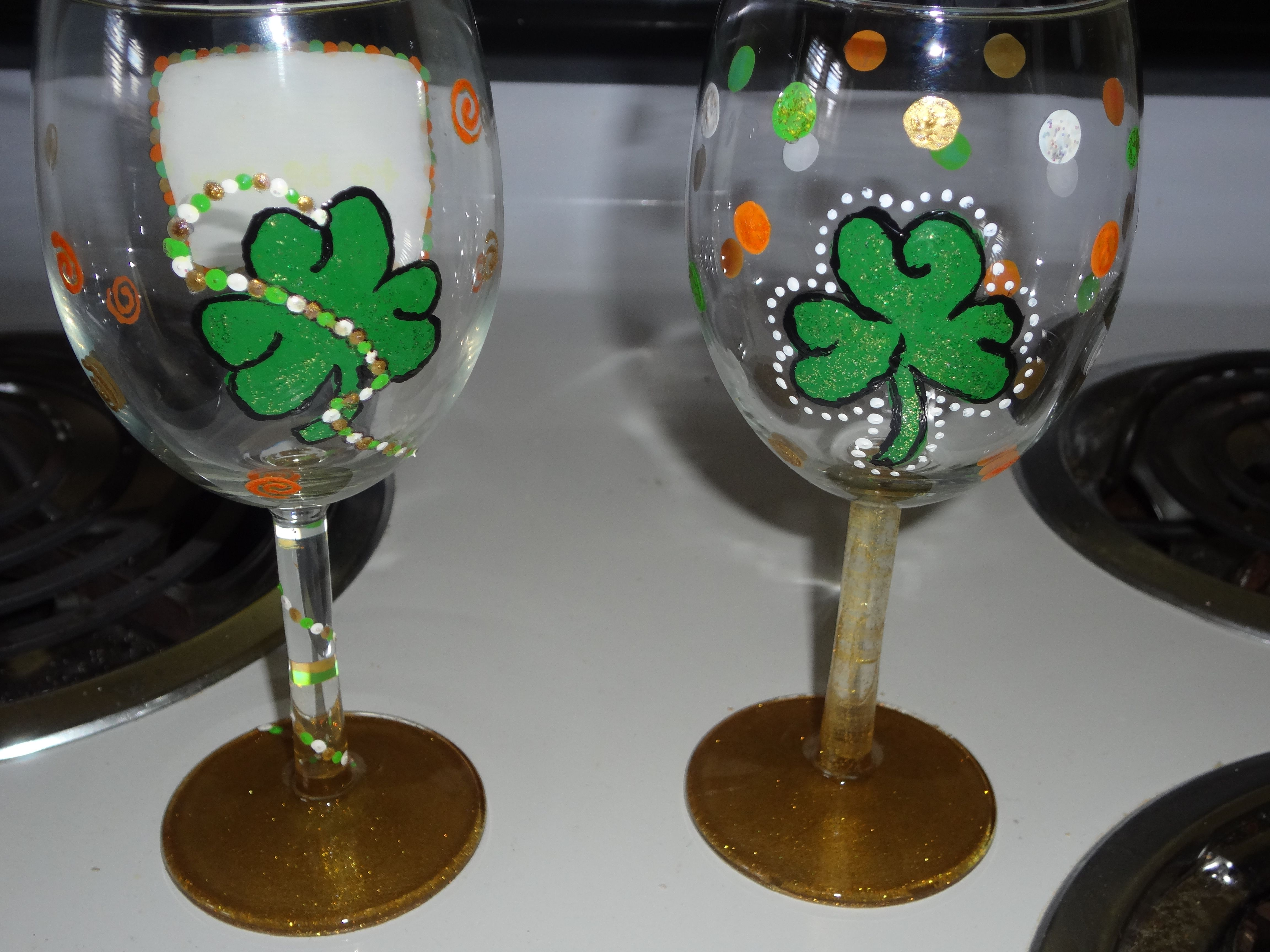 Hand Painted Wine Glasses Wholesale St Patricks Day Painted Wine Glasses Crafts For Us 2