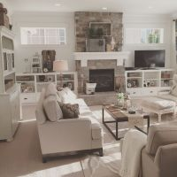 Open concept great room with modern farmhouse style ...