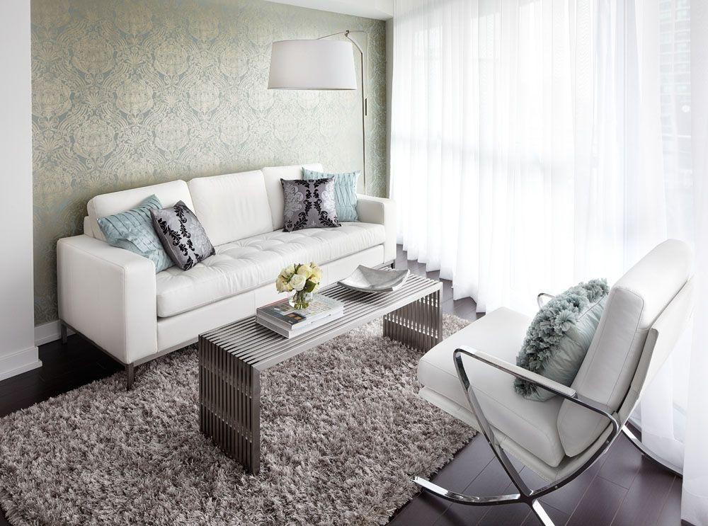 Contemporary condo living room with white leather sofa - white leather living room furniture