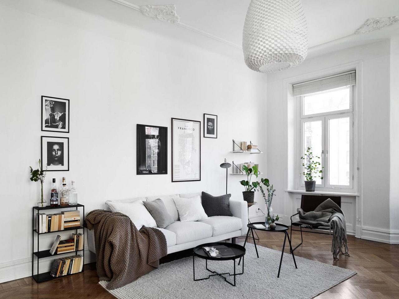 Black and white Scandinavian living room