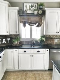 Farmhouse kitchen decor. Shelf over sink in kitchen.