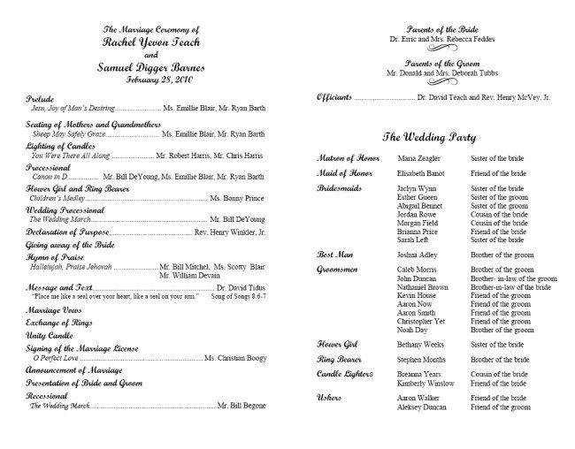 Program Template - Script MT Sample 1 Wedding Mass Pinterest - wedding agenda sample