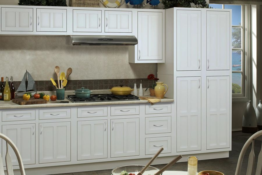 Palmetto White Cabinets Bargain Outlets Rental Suite   Kitchen Cabinet  Warehouse