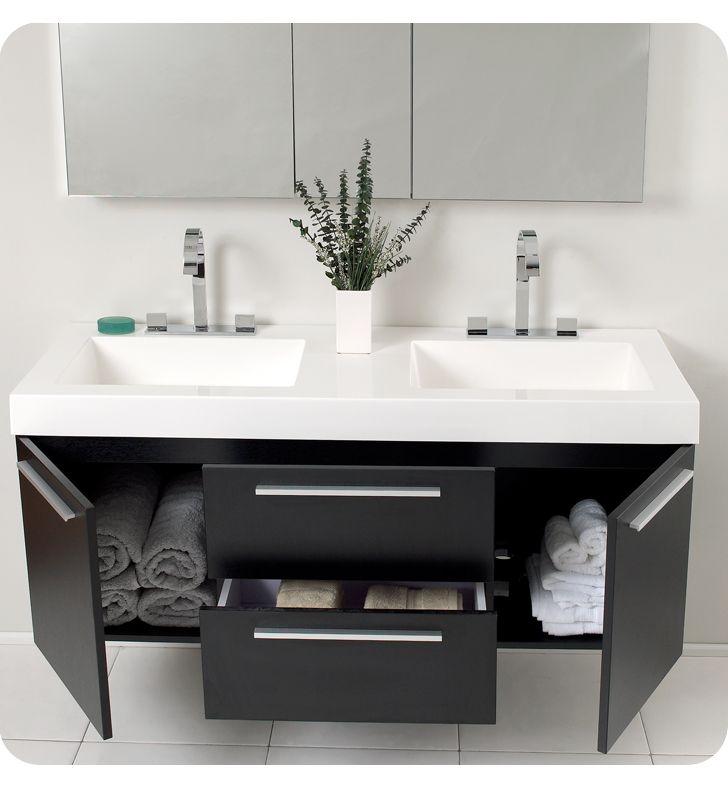 54quot Opulento Black Double Sink Bathroom Vanity With