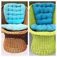 Old wicker chair to new key lime green with teal pillows ...
