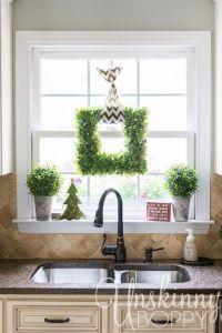 Kitchen window Christmas decor- square boxwood wreath with ...