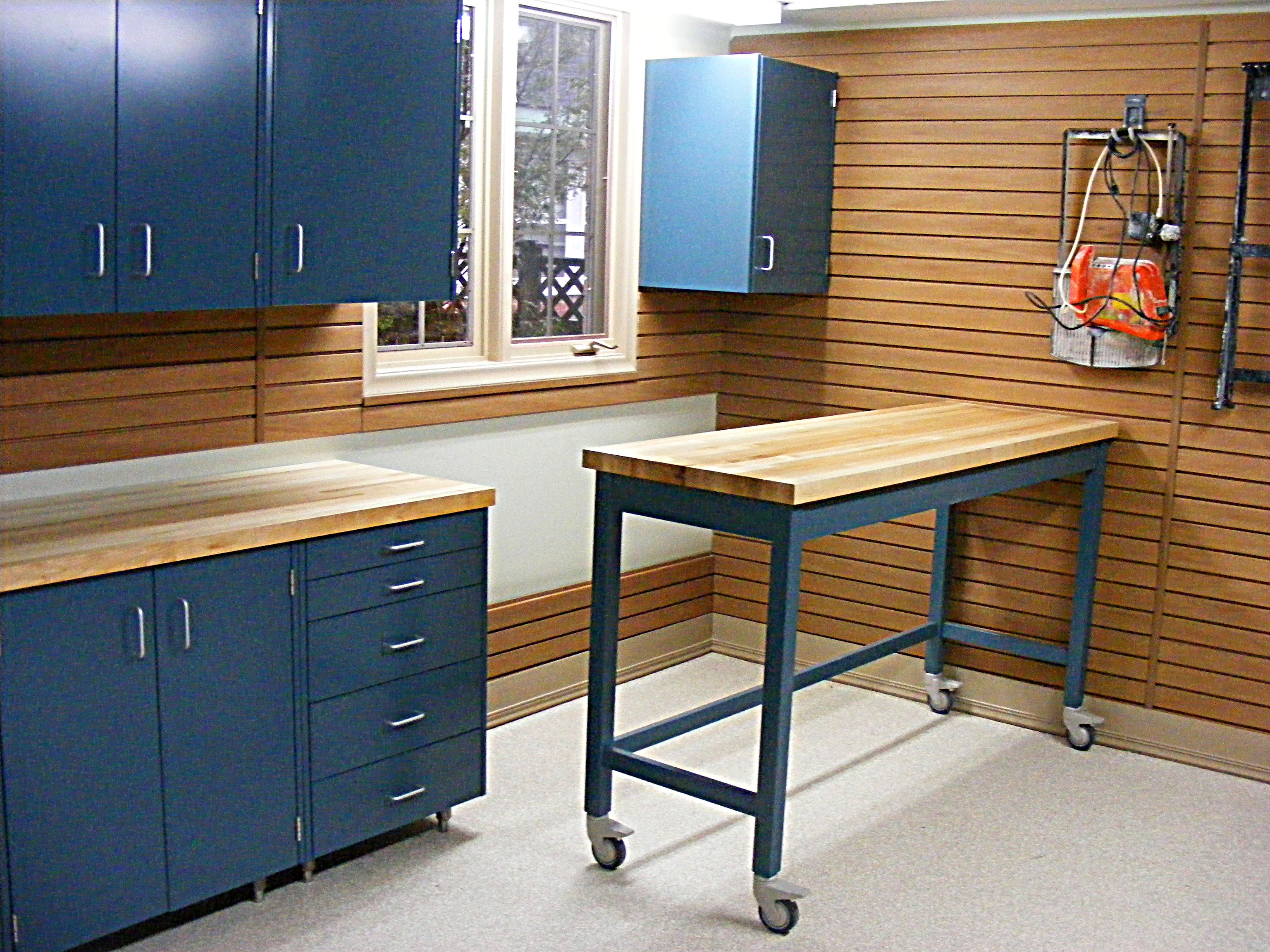 Workshop Countertop Garage Blue Color Of Garage Shelves Made From Metal