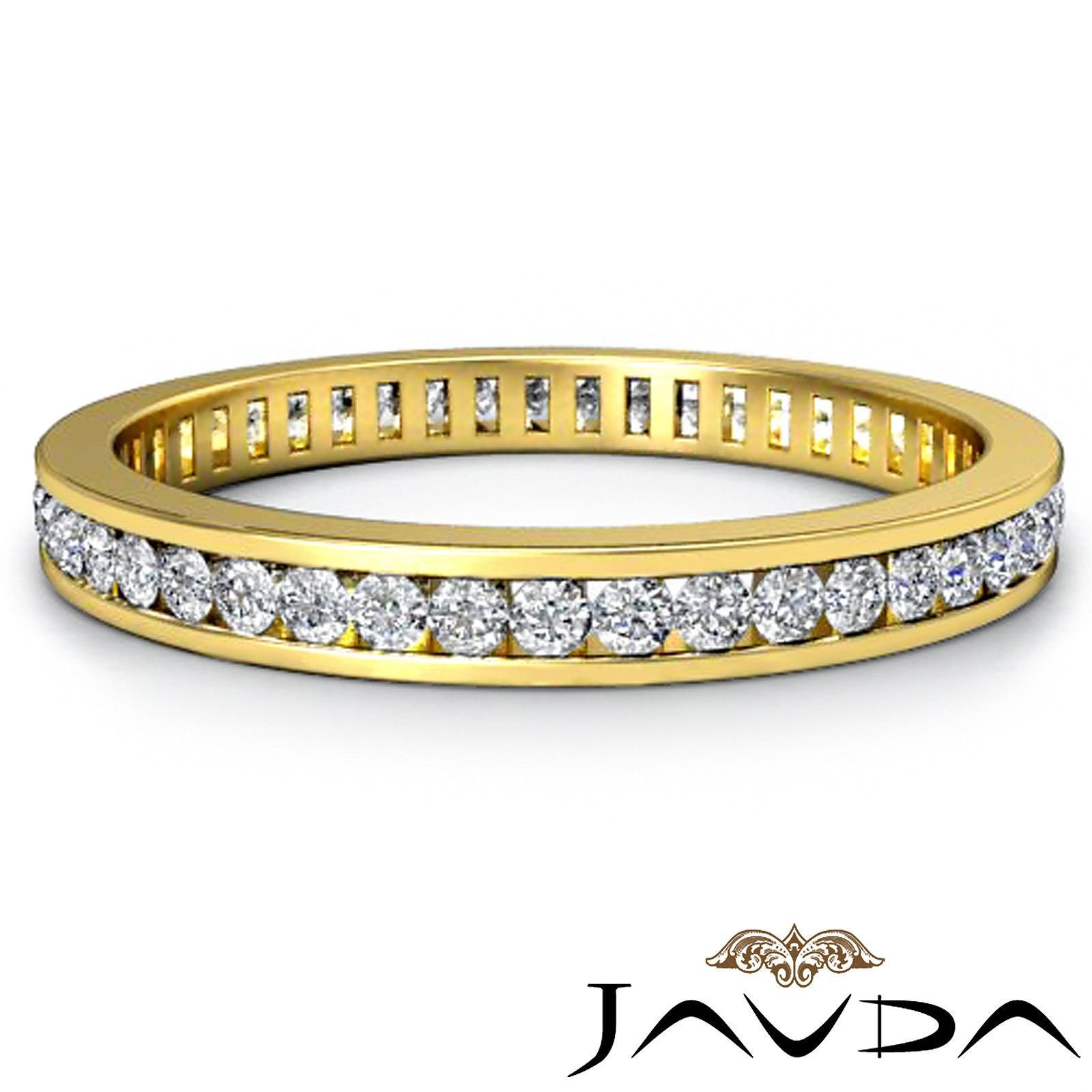 ebay wedding rings sets Womens Eternity Band Channel Set Diamond Engagement Ring 18K Yellow Gold 0 70ct eBay