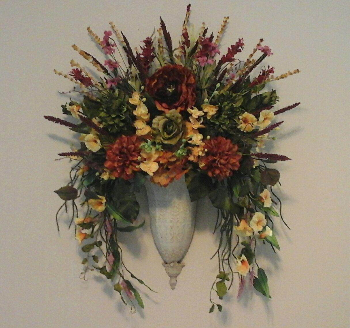 Tuscan Floral Wall Sconce, Fall Wall Planter,Wall Pocket