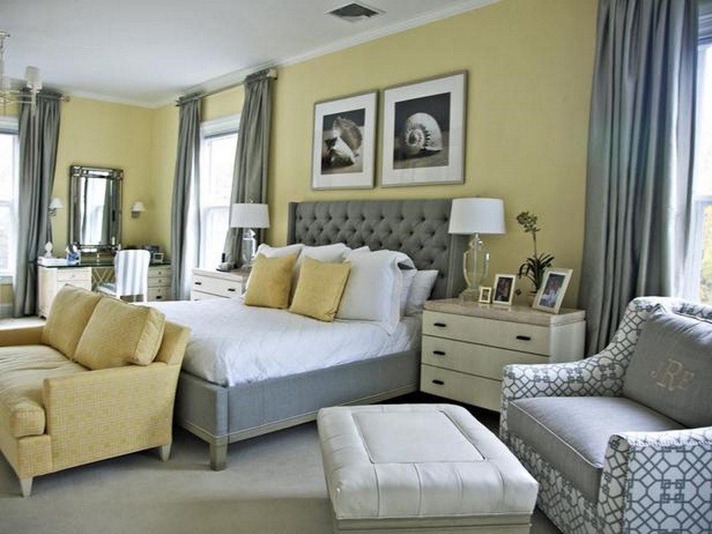 Sophisticated comfy pale yellow walls white trim pale grey carpet medium greys