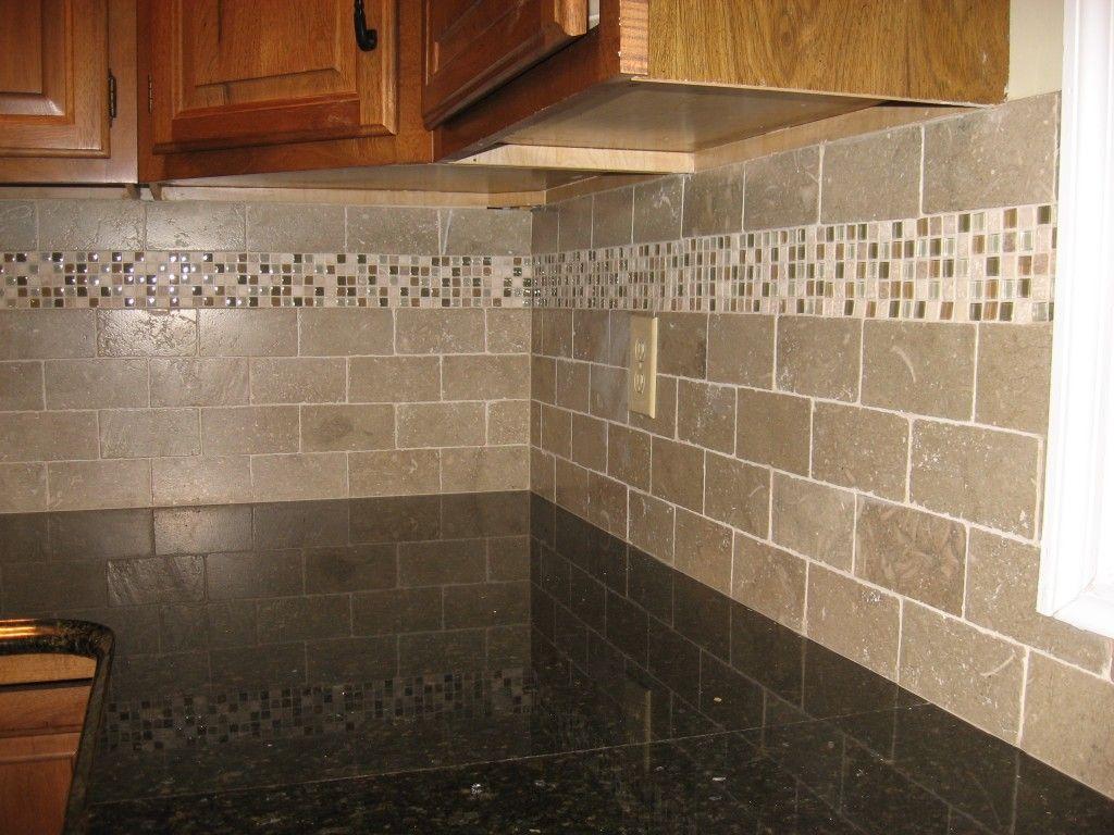 mom kitchen backsplash for kitchens New kitchen backsplash with tumbled limestone subway tile and mixed mosaic accent