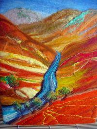textile wall art , original contemporary wet felt art ...
