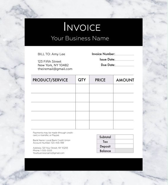 Invoice Template Billing Template Photography Invoice - photography invoice template